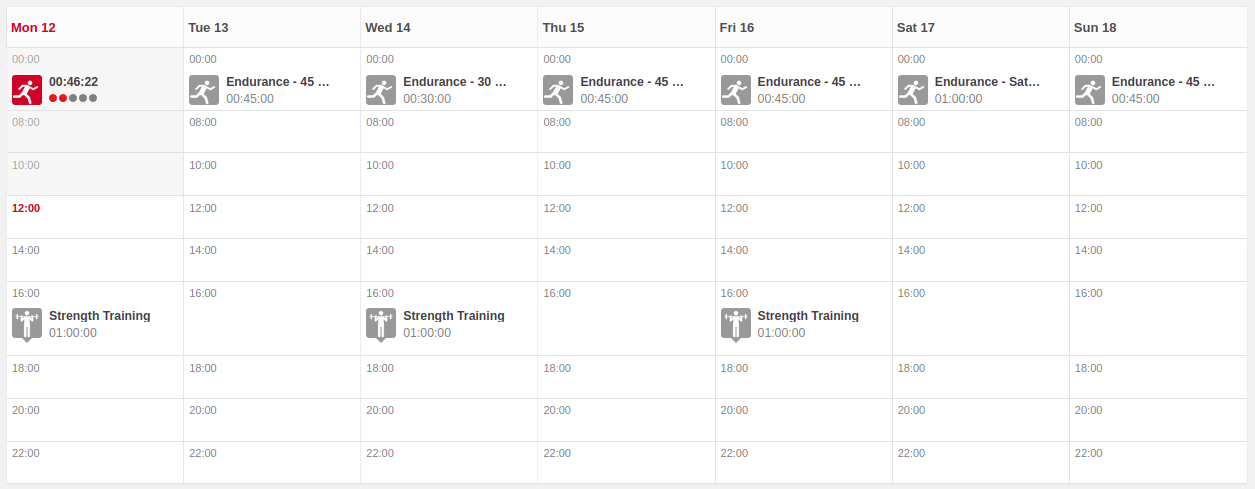 A weekly calendar screenshot showing Mon 12 to Sun 18. Endurance runs of various lengths assigned in the mornings with strength training on Mon/Wed/Fri.